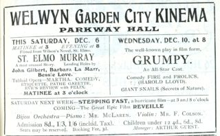First Advertisment for showings at the Kinema December 1924 | Welwyn Garden City News 5 December 1924 page 5