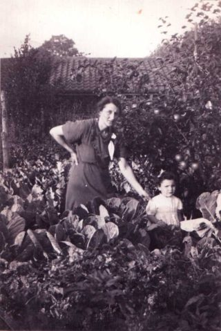 Mary and her mother in their back garden at Lanefield Walk c1938.