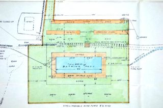Close up of Swimming pool plans UDC21/77/210 | Hertfordshire Archives and Local Studies