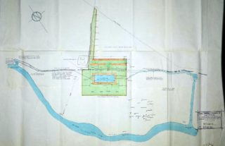 Plan of Swimming pool showing inlet from the River Lea running into the pool and out to the cattle grazing area UDC21/77/210 | Hertfordshire Archives and Local Studies
