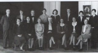 Ludwick School staff in 1939 - Miss Linda Sing is in the middle on the bottom row with her grey hair and black shoes.