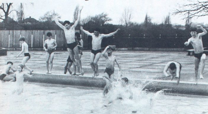 Youngsters from the town were the first to sample the cool water of the Welwyn Garden City pool | Denis Williams, Welwyn Times and Hatfield Herald 23 April 1965, page 18