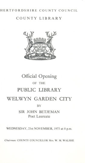 Official Opening of the Public Library | Welwyn Garden City Library Ref P027.409
