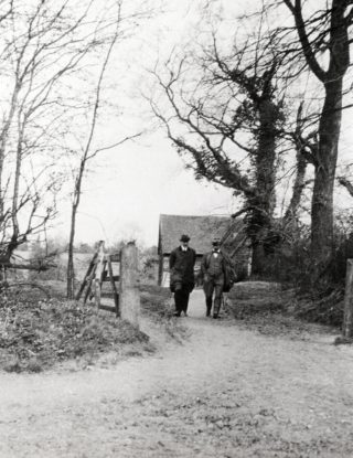 Frederic Osborn and Ebenezer Howard inspecting the site of WGC in 1919 | Hertfordshire Archives and Local Studies