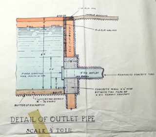 Detail of outlet pipe UDC21/77/210 1933 | Hertfordshire Archives and Local Studies