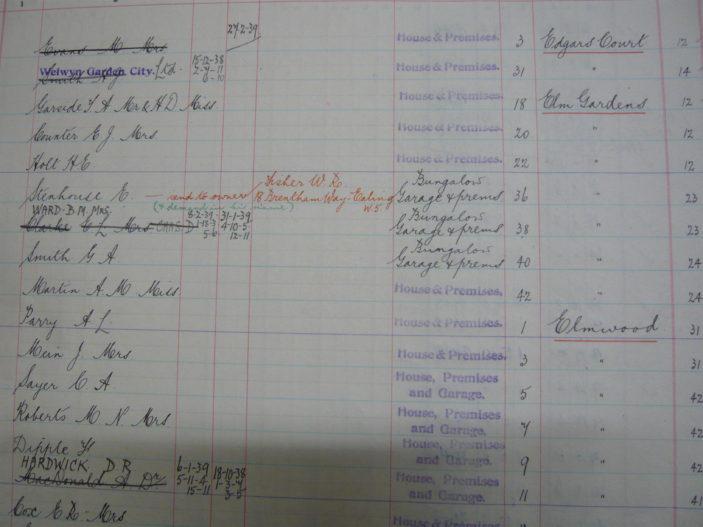 Welwyn Garden City rate book for 1938/9   [HALS: Ref UDC21/30/10]