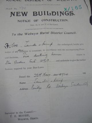 Notice of Construction Elm Gardens, 1924 | [HALS: Ref UDC21]