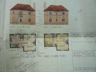Plan and elevation for new houses in Valley Road, March 1920 | [HALS: Ref UDC21]