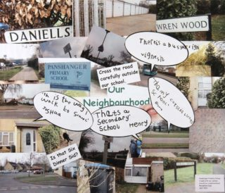 My Neighbourhood. A collage by the reception class at Panshanger Primary School