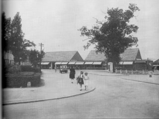 Peartree Stores pictured in 1949, taken from the end of Knella Road.