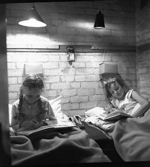The two sisters in their air raid shelter