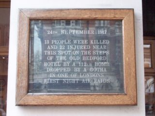 Plaque at site of bombing in London where George Martin was killed.