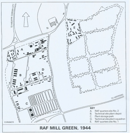 Map of RAF Mill Green in 1944