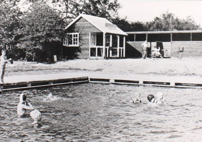 Swimming pool, showing the Refreshment Shed and Changing Sheds c1933 | Hertfordshire Archives and Local Studies