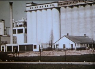 Picture of the Shredded Wheat silos from the film