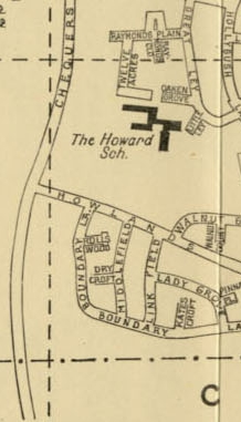 Howard School site and nearby roads  -  1956.