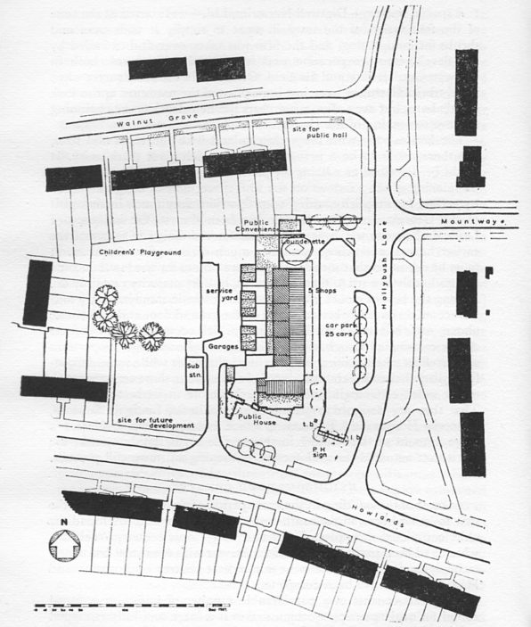 Plan of Hatfield Hyde shops and amenities  -  1960.