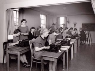 Secretarial School. Miss Jones, who ran the school, is seated at rear on the right.
