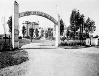 The Shredded Wheat factory showing Follys Arch. 1928 | Welwyn Garden City Library