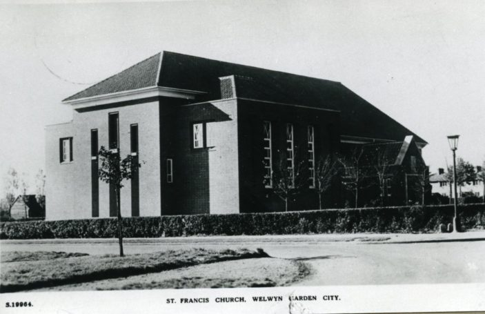 St Francis Church, Welwyn Garden City, Post marked 1937 | Hertfordshire Archives and Local Studies