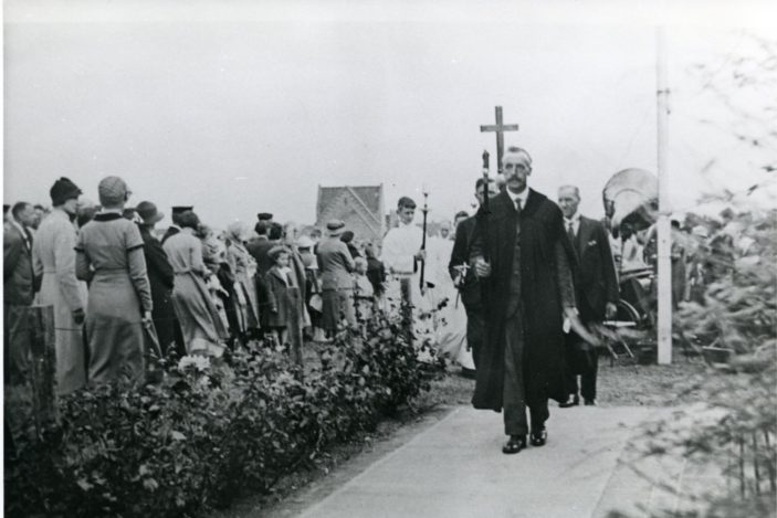 Foundation stone laying procession at St Francis Church, Welwyn Garden City. The church was consecrated in May 1935 | Hertfordshire Archives and Local Studies