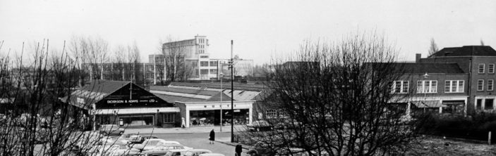 Probably taken from Welwyn Stores in 1964, clearly seen are Dickinson and Adams and Munts, down to the bank on the far right | Welwyn Garden City Library