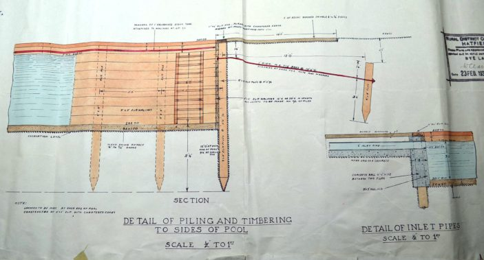 Timbering for side of the pool UDC21/77/210 1933 | Hertfordshire Archives and Local Studies