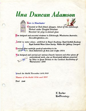 Una Duncan's Guild page | Hertfordshire Archives and Local Studies
