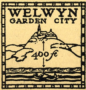 Garden City Company symbol. Shows town on a hill with an indicator showing it is 200 feet above sea level.