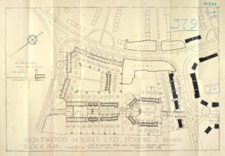Revised layout of Cal-de-sacs E & F 1927. UDC21/77/204-206 | Hertfordshire Archives and Local Studies