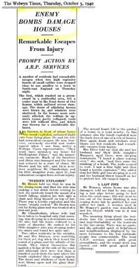 Appendix L Welwyn Times report of bomb damage at 61 Handside Lane 1940