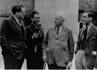 W C Horn (Bill's father), third from left, is interviewed by the BBC for the popular radio programme