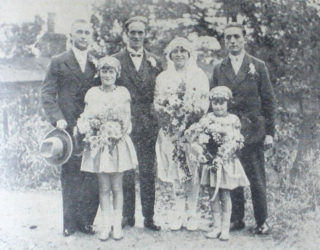 Married at Hatfield Hyde Church on Saturday, Miss D. G. Dunton and Mr D. Cooper. In this group are Mr G. Dunton and Mr. A. Dunton | Welwyn Times