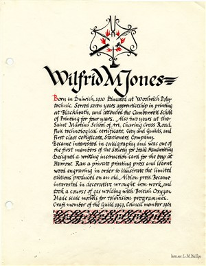 Wilfred Jones' page from th Welwyn Craftworkers | Hertfordshire Archives and Local Studies