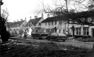 Woodhall Court houses being demolished 1983. HALS library photo collection | Hertfordshire Archives and Local Studies