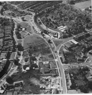 1962 - Aerial view of Woodhall Stores on Cole Green Lane.