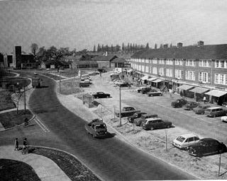 1969 - Enlarged aerial view of Woodhall Stores and the long car park.