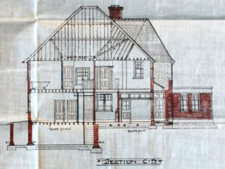 Section plan for the rebuild, The Woodman, Welwyn Garden City, UDC21/77/208 1927 | Hertfordshire Archives and Local Studies