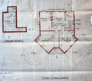First Floor and Cellar plans of the rebuild, The Woodman, Welwyn Garden City UDC21/77/208 1927 | Hertfordshire Archives and Local Studies