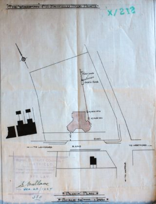 Site Plan of the rebuild of The Woodman Public House Welwyn Garden City UDC21/77/208 1927 | Hertfordshire archives and Local Studies
