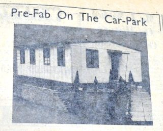 The prefabricated house which was erected on the main car park near Welwyn Stores, was built by Morrions Engineering Limited, an aircraft firm who were turning over their shadow factories to housing. Its main difference from most other prefabricated houses is that it is almost completely erected inside the factory. It is assembled there in four sections, each of which can be got on to a lorry of trailer and the only work which remained to be done on the site, was to bolt those four sections together in a row and connect up plumbing and electricity | Welwyn Times, 14 December 1945