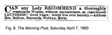 Mrs Balfour advertises for laundress | Fig.8.
