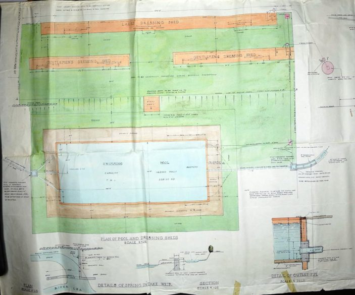 Plan showing decking and changing sheds UDC21/77/210 | Hertfordshire Archives and Local Studies