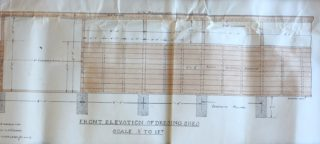 Front elevation of Dressing Sheds UDC21/77/210 | Hertfordshire Archives and Local Studies