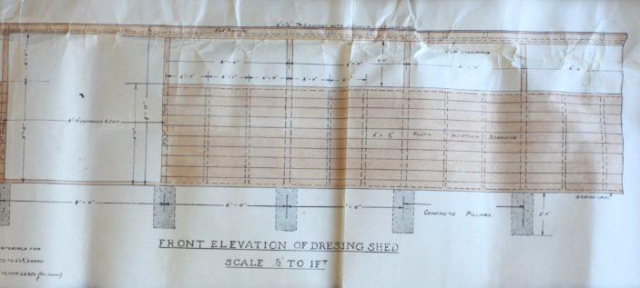 Front elevation of Dressing Sheds UDC21/77/210 | Hertfordshire Archives and Local Studies