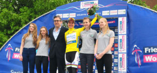 Marianne Vos on the Welwyn Garden City podium at end of Stage 4 | Sweet Sport