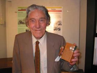 James Reeve holding one of his radio designs | Classic Wireless website