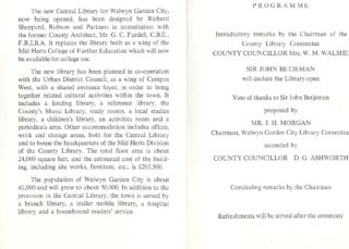 Official Opening Programme | Welwyn Garden City Library  Ref P027.409