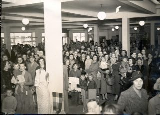 Interior of Woodhall Stores on its opening day | Welwyn Garden City Library
